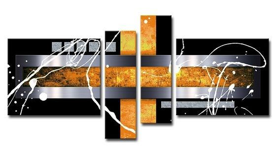 Black And Yellow Silver Canvas Painting Abstract Modern Art 4 Piece