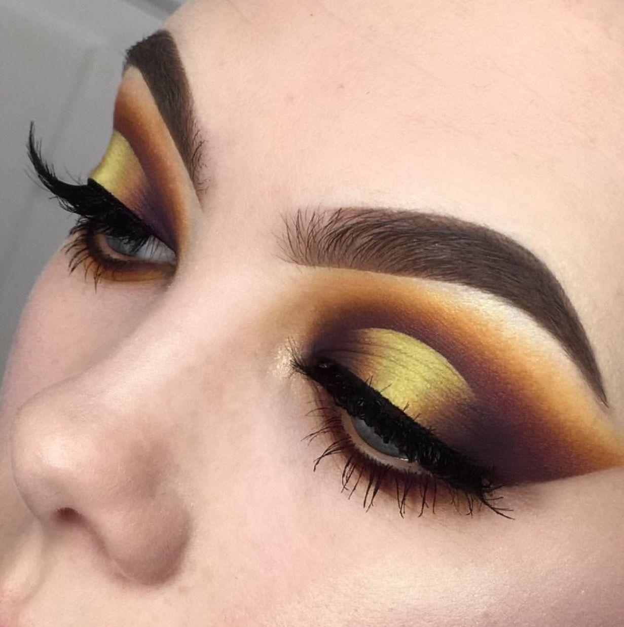Yellow Mustard Brown Dark Brown Eyeshadow Look Halo