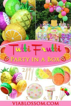 You will love our Tutti Frutti Party in a Box for 10 guests! All the fruit party supplies you will need for a Tutti Frutti Party! It is perfect for a Two-tti Fruity Party or a girl birthday party! #twottifruttipartyideas #tuttifruttipartyideas #summerpartyideas #fruitpartydecorations #tuttifruttipartysupplies #tuttifruitypartyideas #pineapplepartyideas #luaupartyideas #viablossom #fruitthemedparty