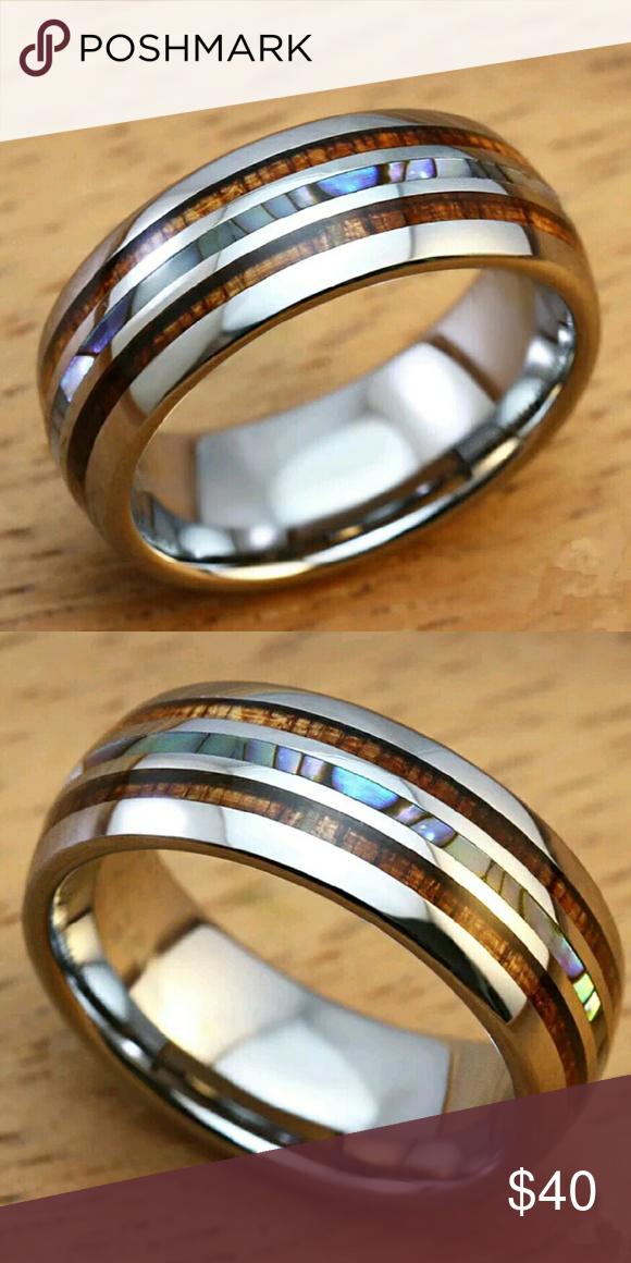 Abalone Shell Hawaiian Kona Wood Men Ring Sz 10 5 Rings For Men Rings Abalone Shell
