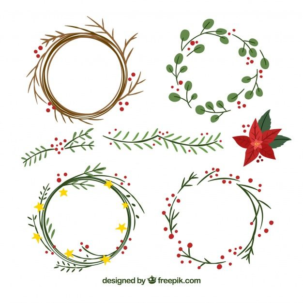Photo of Download Set Of Hand-drawn Christmas Wreaths for free