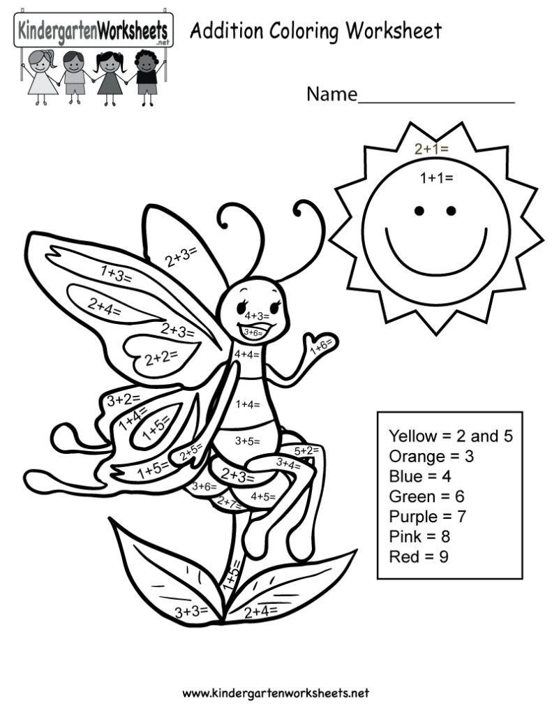 Addition Worksheets Educational Coloring Pages