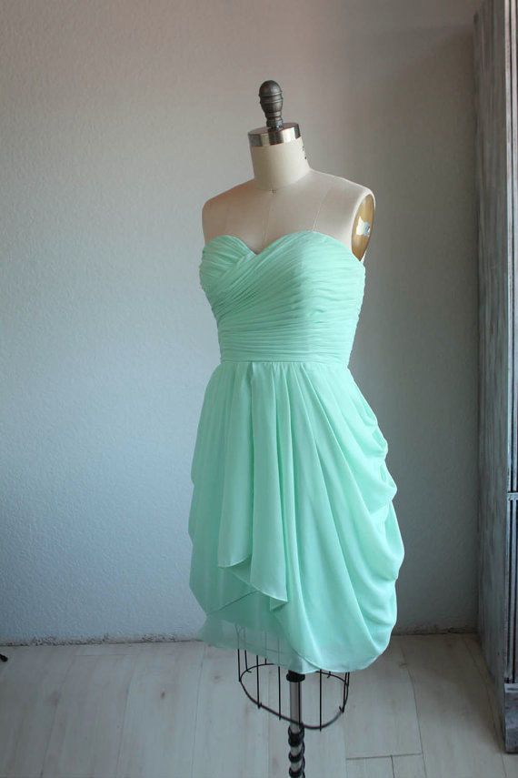 Custom Handmade Short Mint Bridesmaid Dresses Party