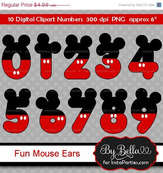 SALE, SALE 40% OFF Instant Download Mickey Mouse inspired clipart numbers clip art for scrapbooking or invitations with ears in red black