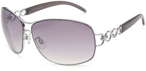 Steve Madden Women's S5108 Aviator Sunglasses,Silver Frame/Gradient Smokey Grey With Light Flash Lens,one size Steve Madden. $36.00. Lens width: 67 millimeters. Arm: 130 millimeters. Plastic lens. Case included. 100% UV protection coating. Lens height: 50 millimeters. Made in China. Bridge: 12 millimeters. Metal frame