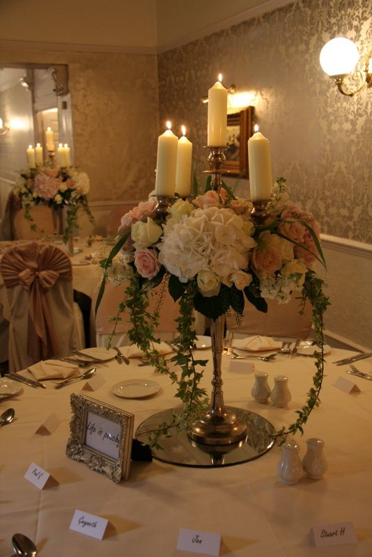 "Our fabulous Baroque style Candelabras dressed some of the dining tables creating a ""Downton Abbey"" grandness"
