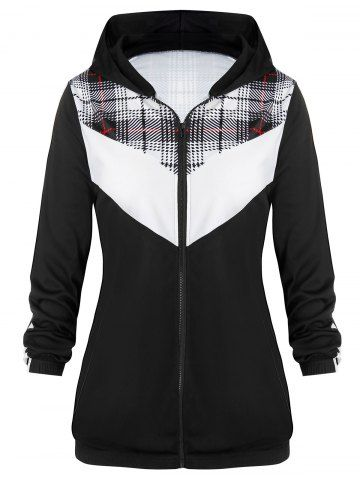 Plus Size Contrast Plaid Zipper Taped Sleeve Hoodie 2