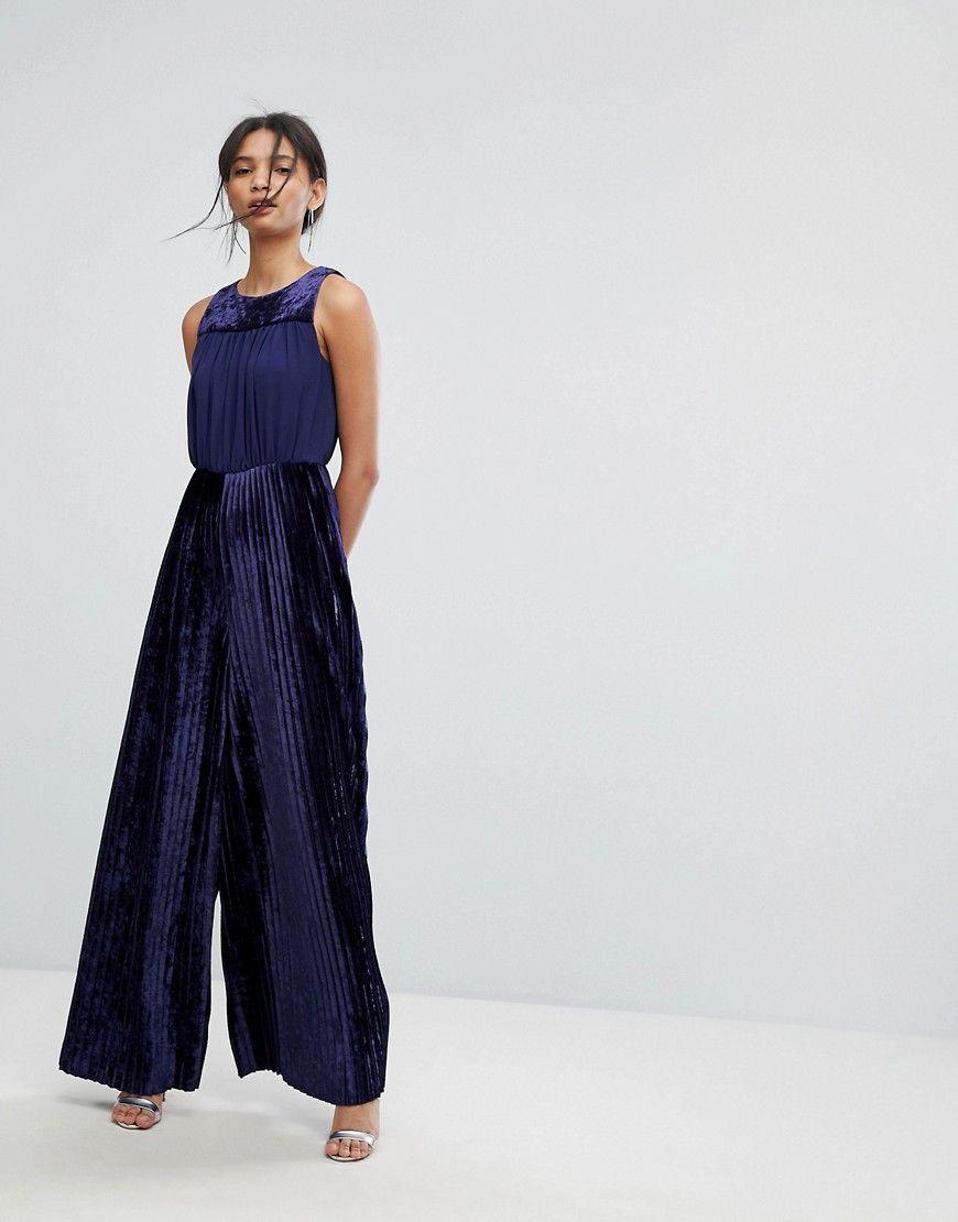 66e475894274 Tresophie Velvet Wide Leg Jumpsuit - Blue