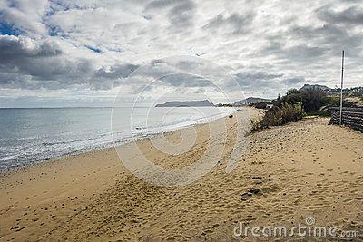 View of the beach at the Atlantic Ocean on Porto Santo Island near Madeira Island . Portugal.