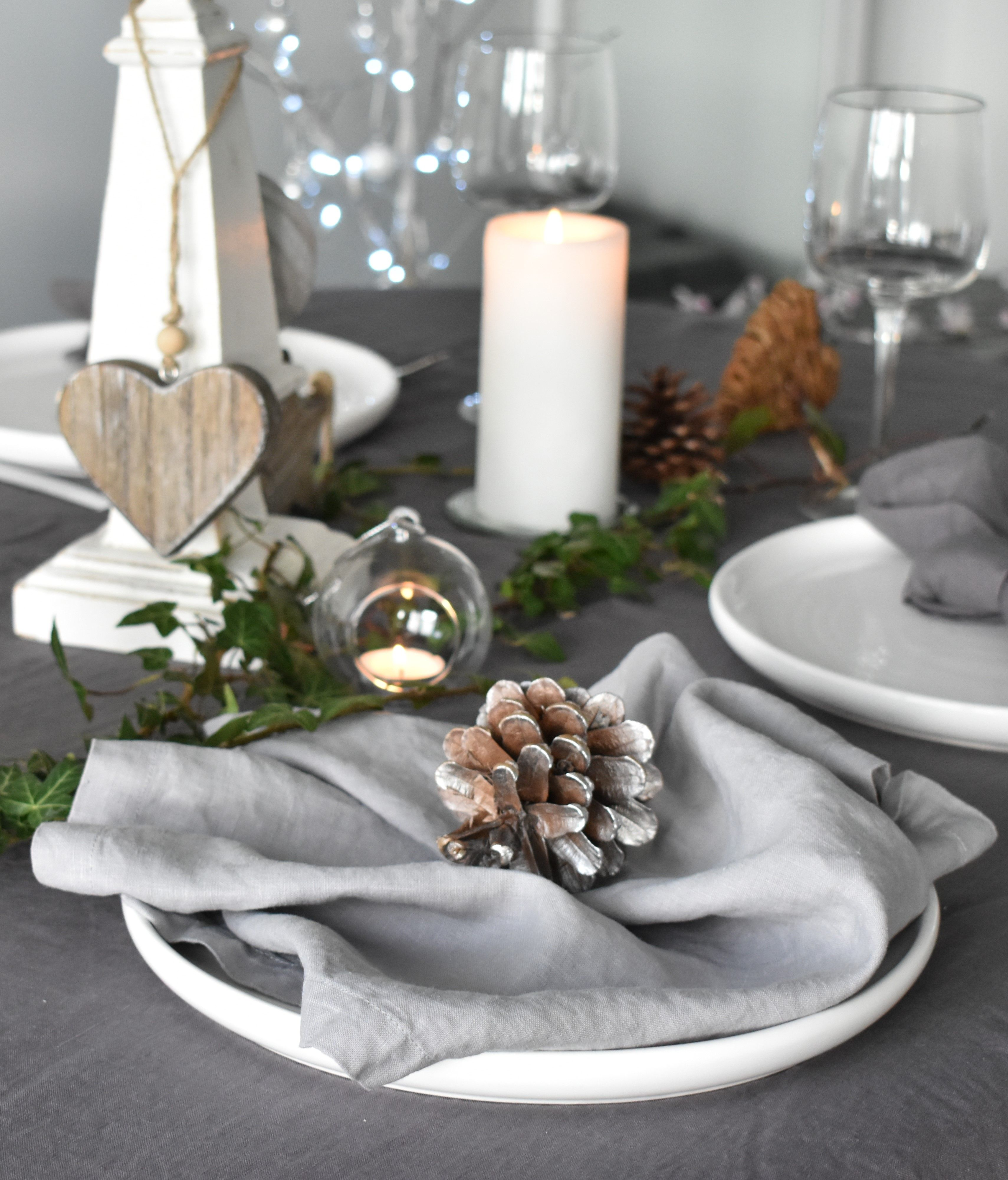 Tumbled Grey Linen Napkin Christmas Table Linen Gray Linen Napkins Christmas Linen Napkins