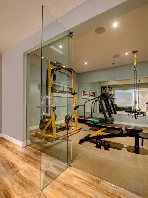 Home gym with glass entrance women beauty gym room at