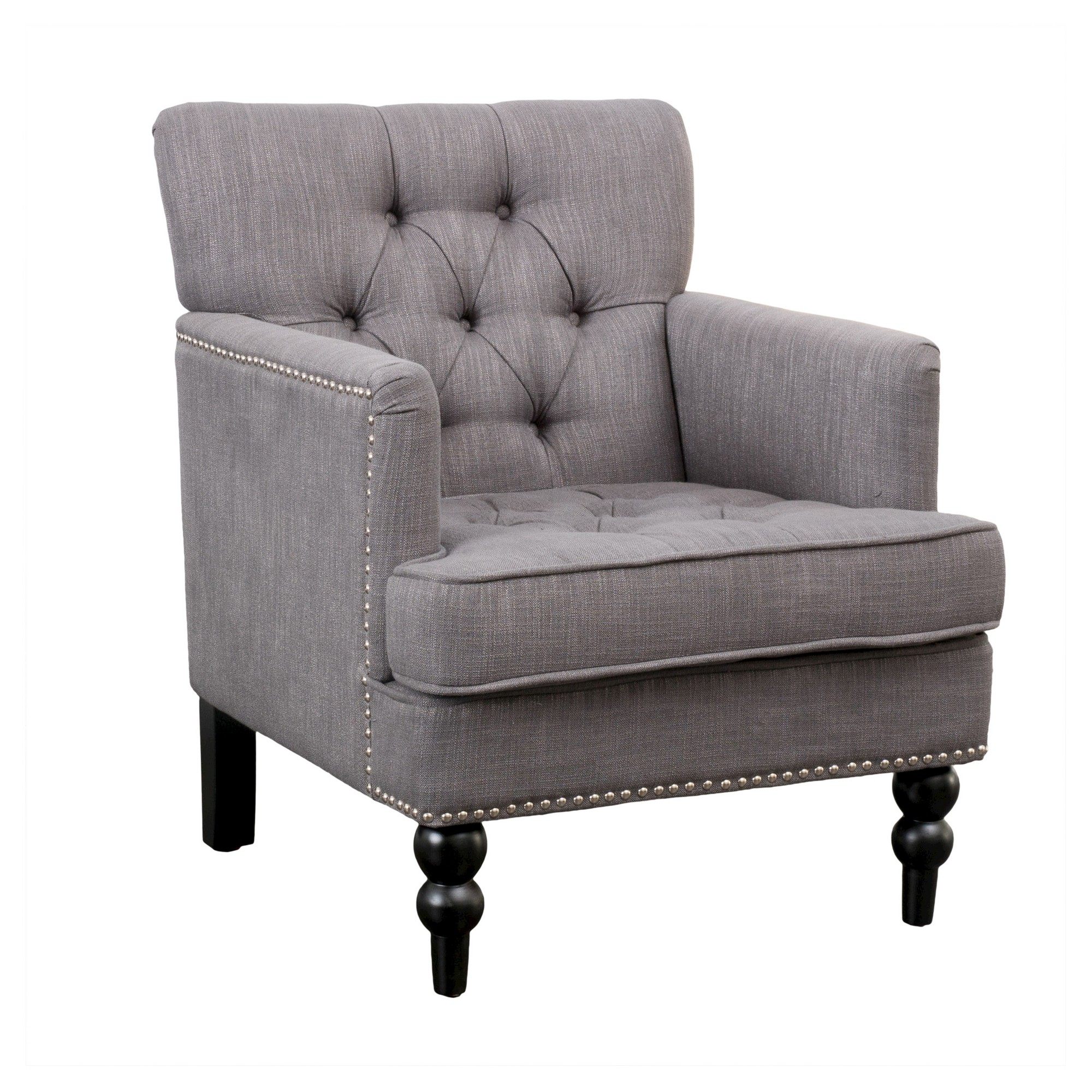 christopher knight club chair plush office home malone charcoal grey
