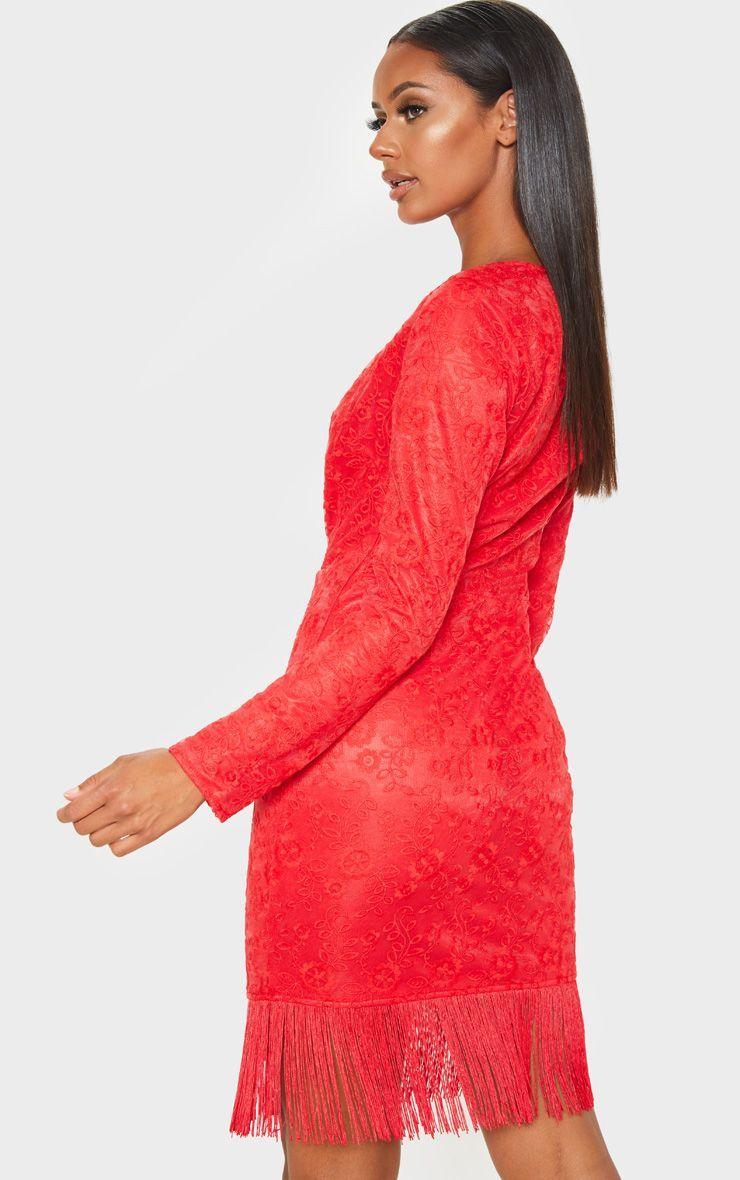 b6142049776 Red Lace Tassel Hem Bodycon Dress in 2019 | Products | Bodycon dress ...