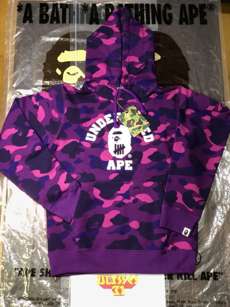 bbf9827c98 Authentic APE BAPE x UNDEFEATED COLOR CAMO COLLEGE PULLOVER HOODIE Small  NEW  BAPE  Hoodie