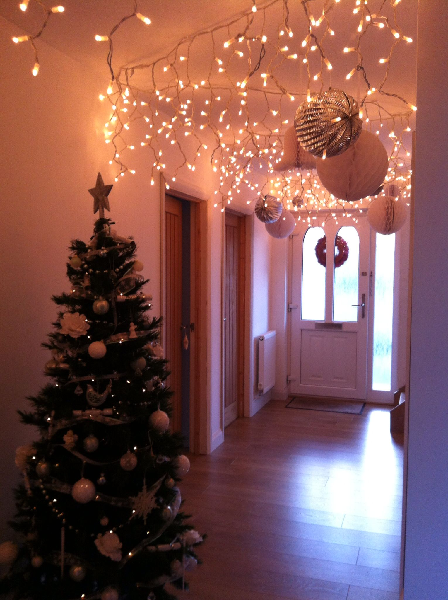 Inspired By A Fellow Pin, Used Icicle Lights In Hallway,