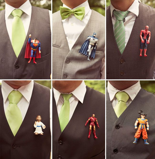 """Mimi asked the boys who their favorite super hero was and ordered figurines to make them """"boutonnieres"""" – how fun!"""