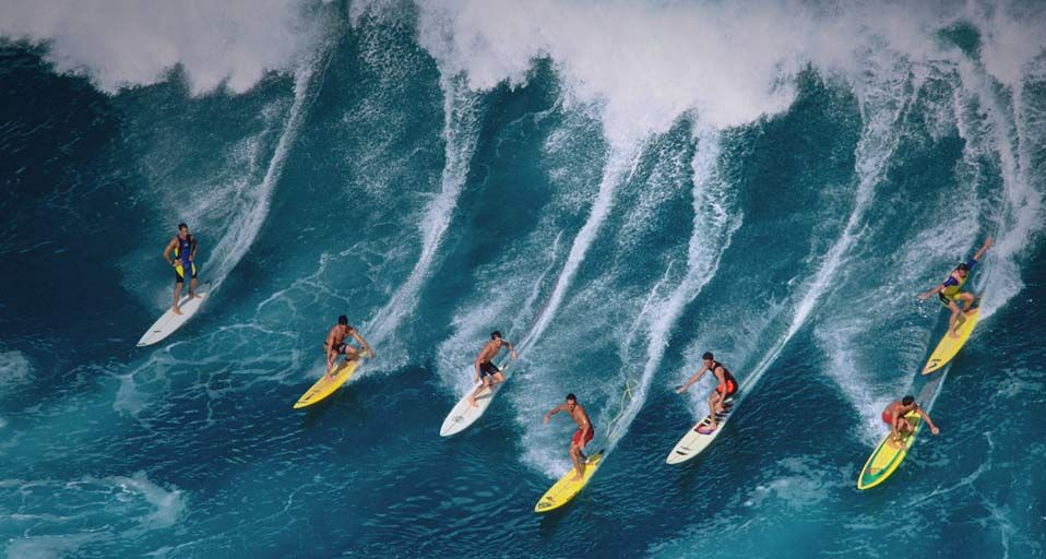 group surf Surfing, Hawaii surf, Surfing waves