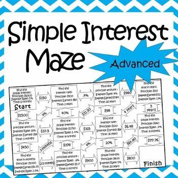 Simple Interest Maze Advanced Simple Interest 8th Grade Math 4th Grade Math