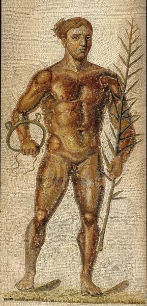 Detalle de los atletas mosaico de las Termas de Caracalla , ahora en los Museos Vaticanos