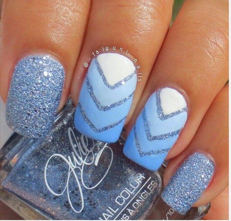 Pretty!! Blue, white, glitter nails ✿⊱╮ | fake nails | Pinterest ...