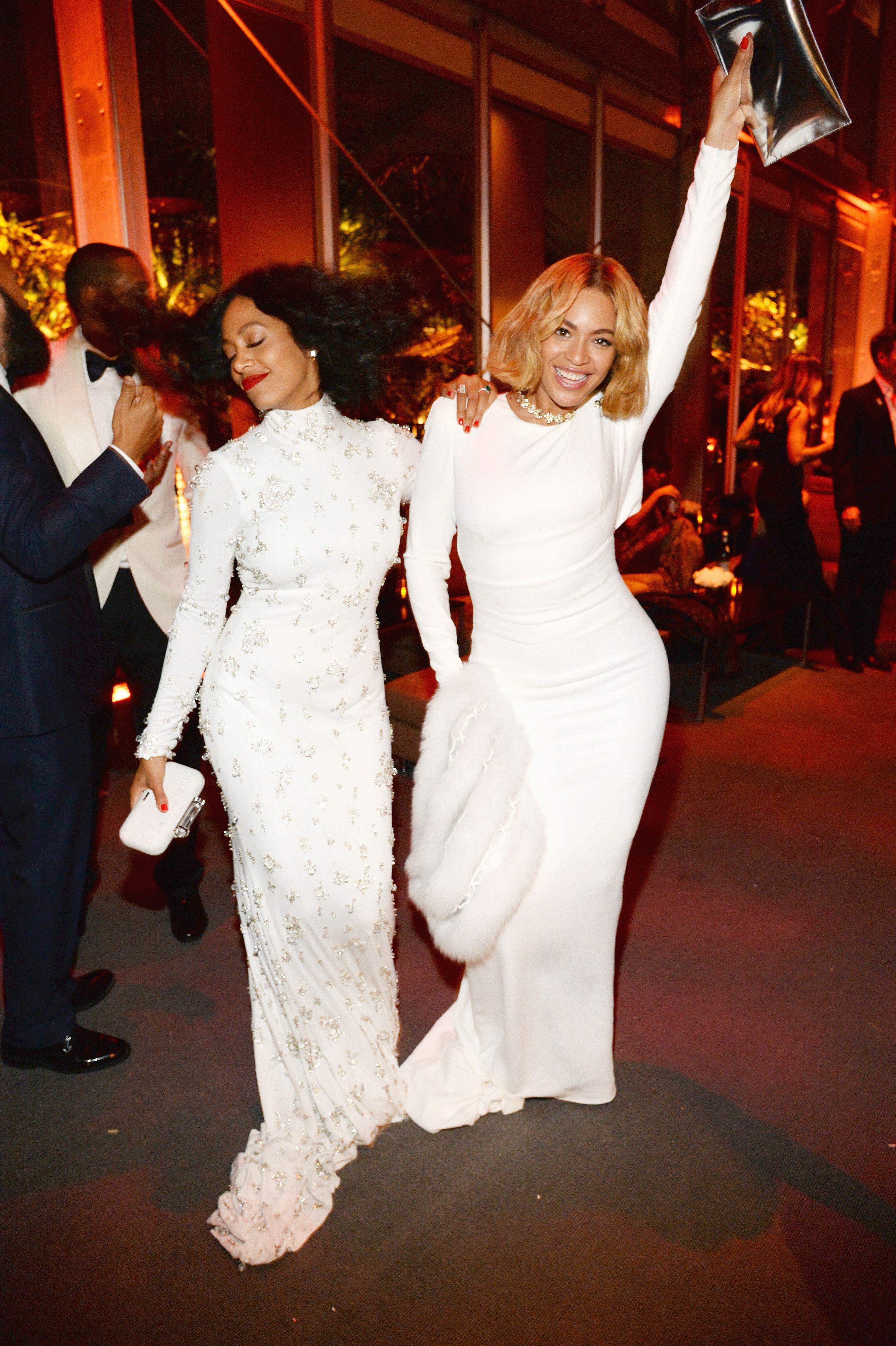 de27d8f64dc So Cute  Beyoncé and Solange Wear Matching Dresses to Oscars Party via   WhoWhatWear