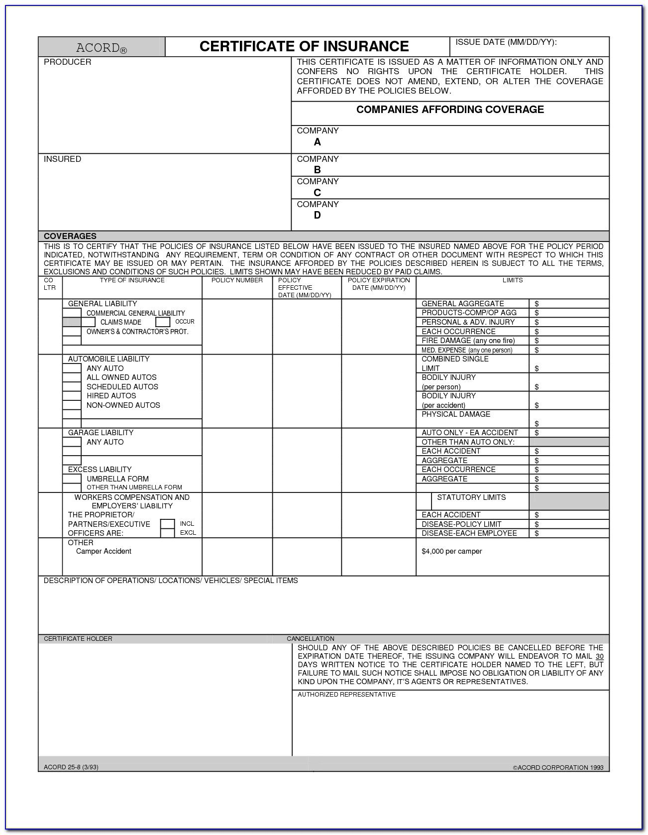 Certificate Of Liability Insurance Form Acord 25 Form Within