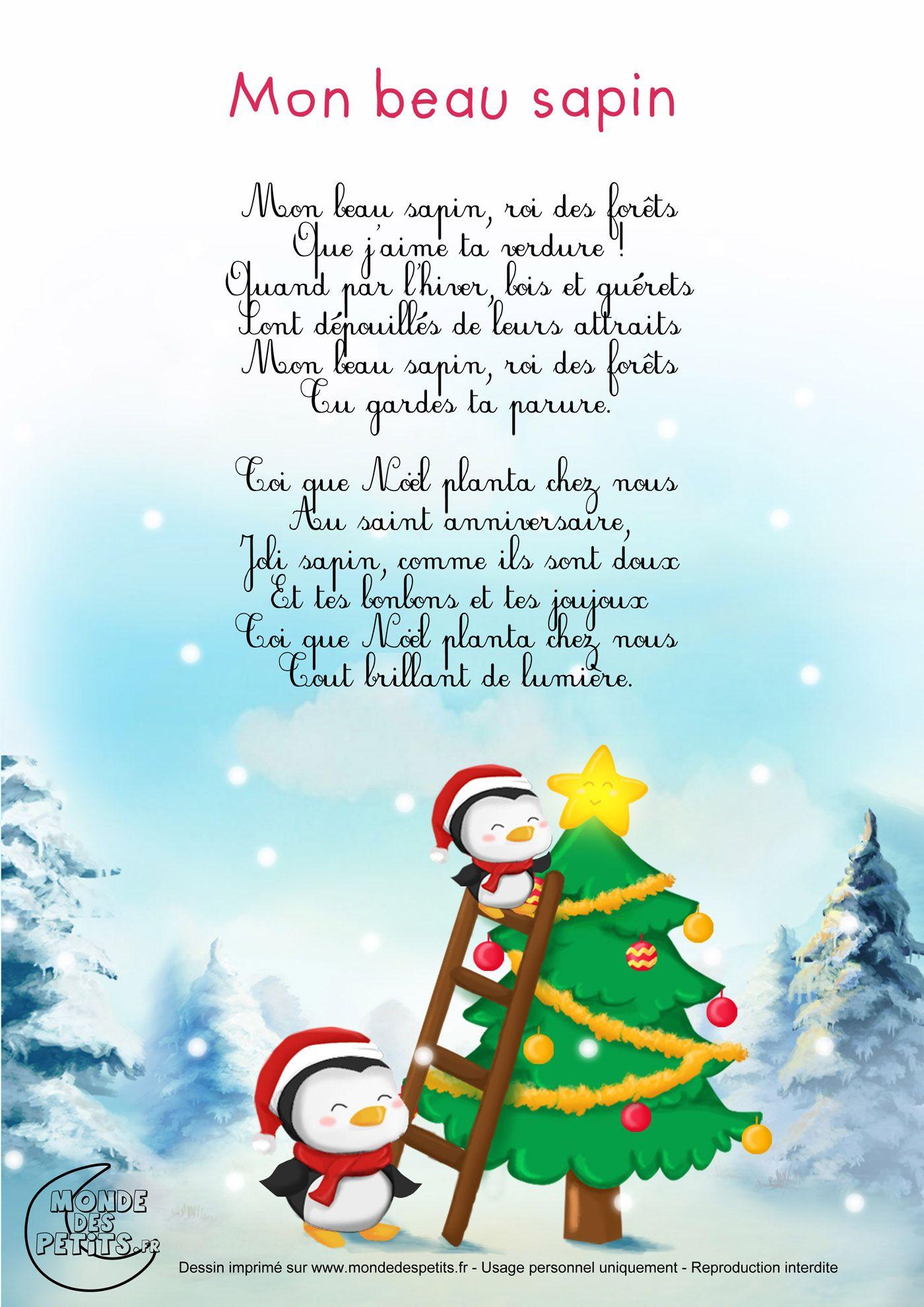 Chanson De Noel Pour Enfant : chanson, enfant, Paroles_Mon, Sapin, Chanson, Noel,, Comptines