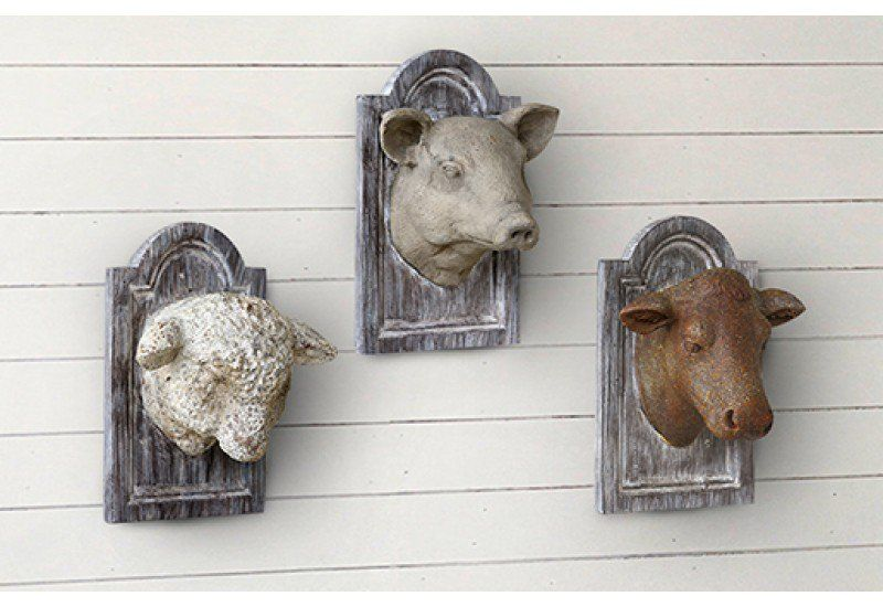 Pig Head Mount Cow Head Mount Sheep Wall Mount These Need To Be In My Kitchen Djc Animal Head Wall Hanging Cow Head Animal Heads