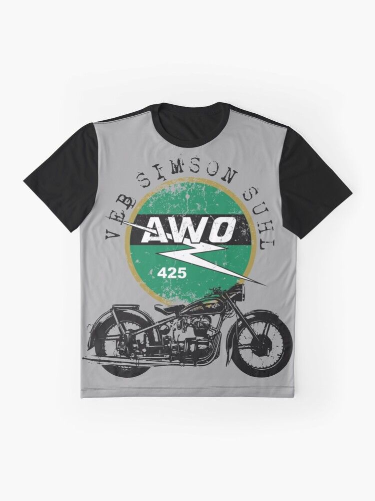 Photo of Awo 425 Simson Suhl vintage motorcycle graphic t-shirt.