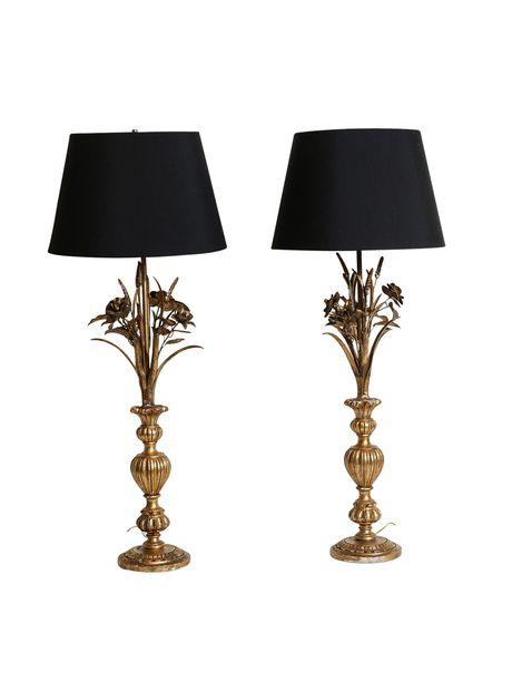 Pair Of Italian Gilt Hollywood Regency Style Wheat Lamps The Highboy Www Thehighboy Com Vintage Lamps Hollywood Regency Everything Is Illuminated