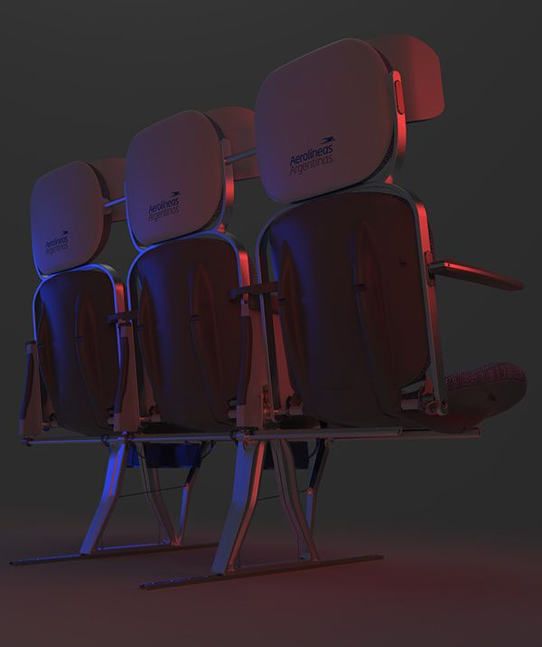 #render #red #blue #airline #seat #airpline #aerolinea #design #industrialdesign #row #mechanism #reversible