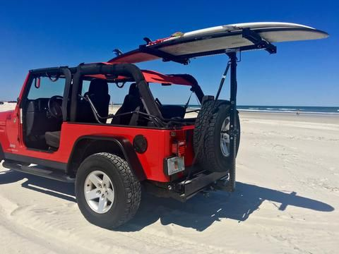Hitchmount Rack On A Jeep Rubicon Hits The Beach Jeep Rubicon Jeep Jeep Wrangler Accessories