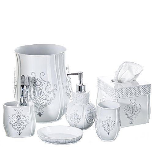 Creative Scents Vintage White Bathroom Accessories Set 6 Piece Bath Collection Features Soap Dispenser Toothbrush