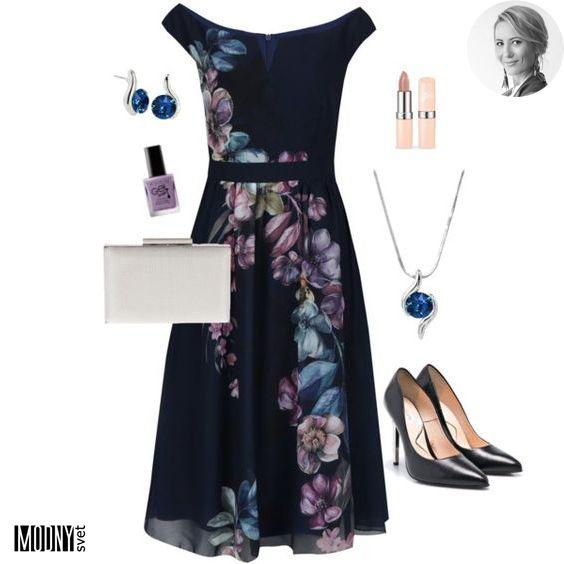 5a8dad994a9c Tmavomodré kvetinové šaty s odhalenými ramenami
