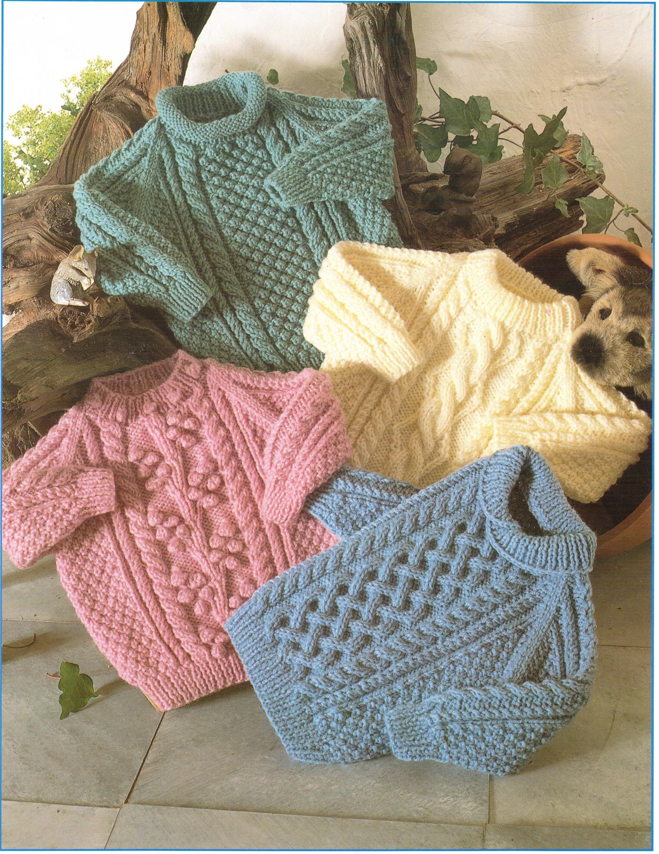Baby Knitting Pattern Childrens Knitting Pattern Aran Sweaters ...