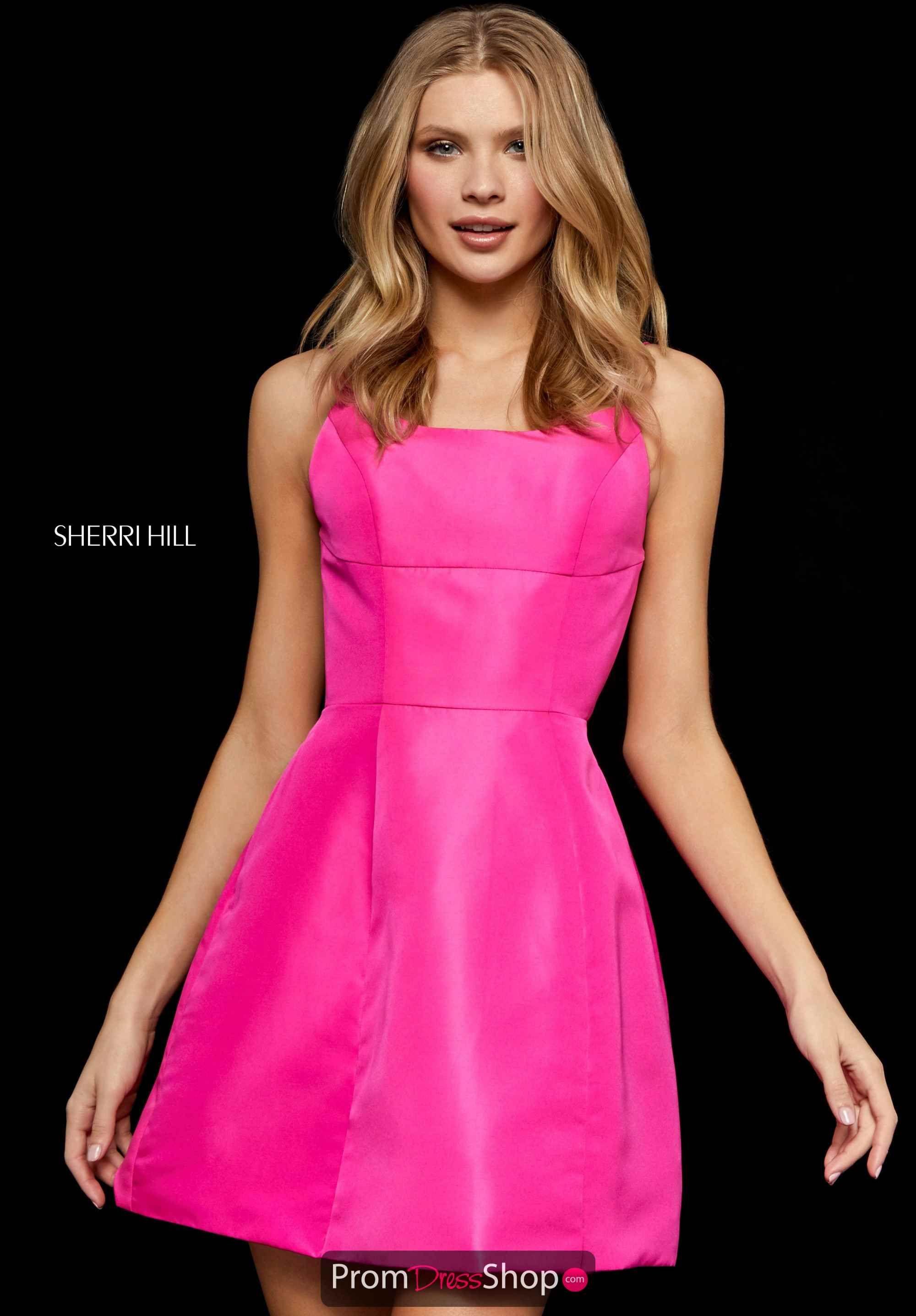 fb3c0cf39a5 Sherri Hill Taffeta Scoop Neckline Short Dress 52154