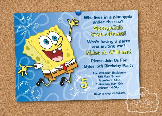 spongebob squarepants birthday party printable invitation  inviti, party invitations