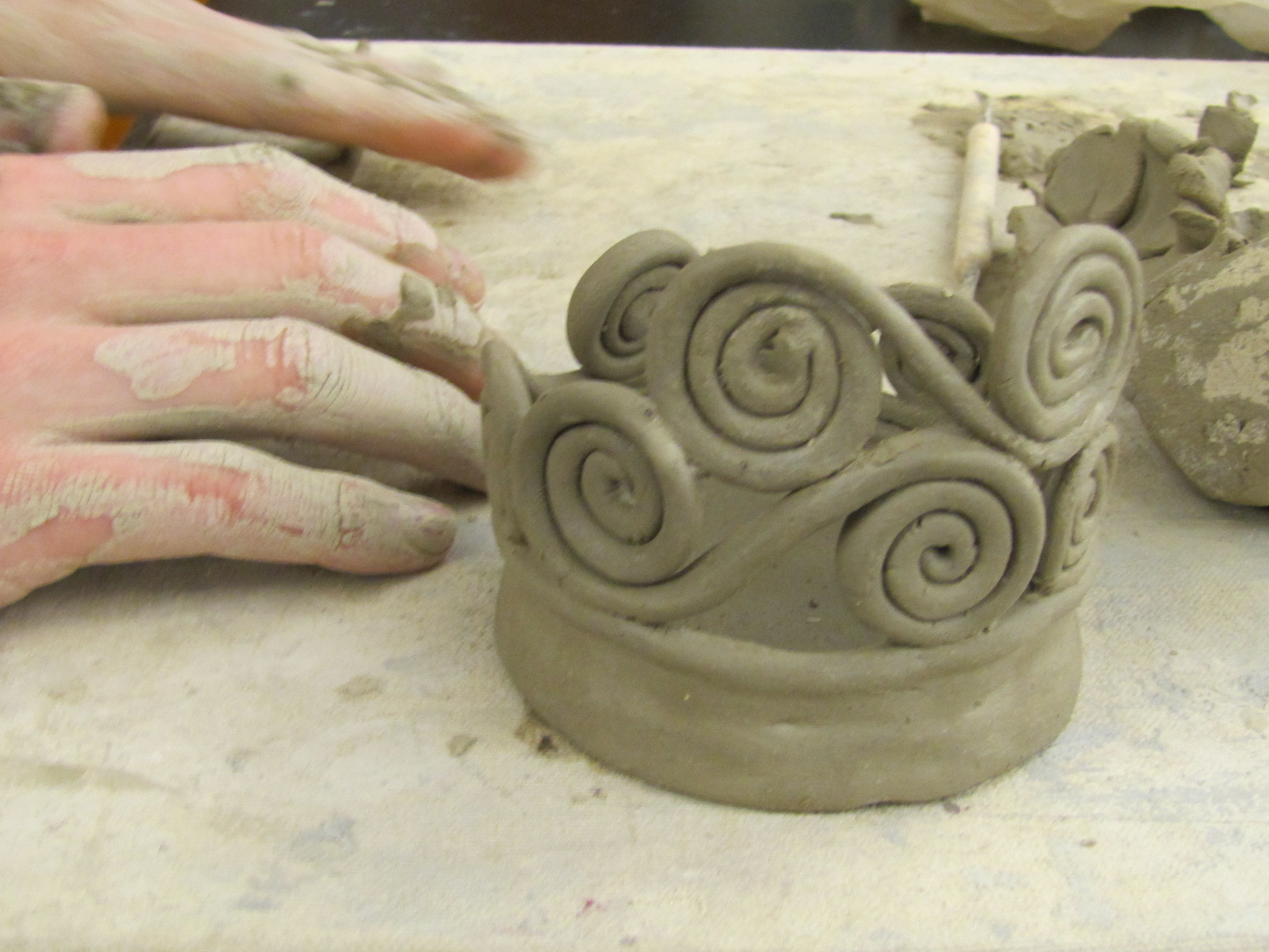 Coil pots in progress naea secondary teachers clay for Simple clay designs