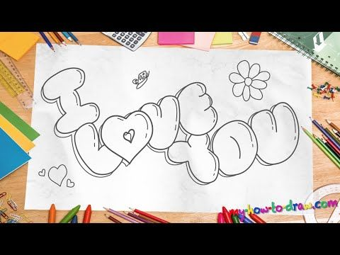 "How to draw 'I Love You"" in 3D Bubble Letters - Easy step-by-step drawing lessons for kids - YouTube"