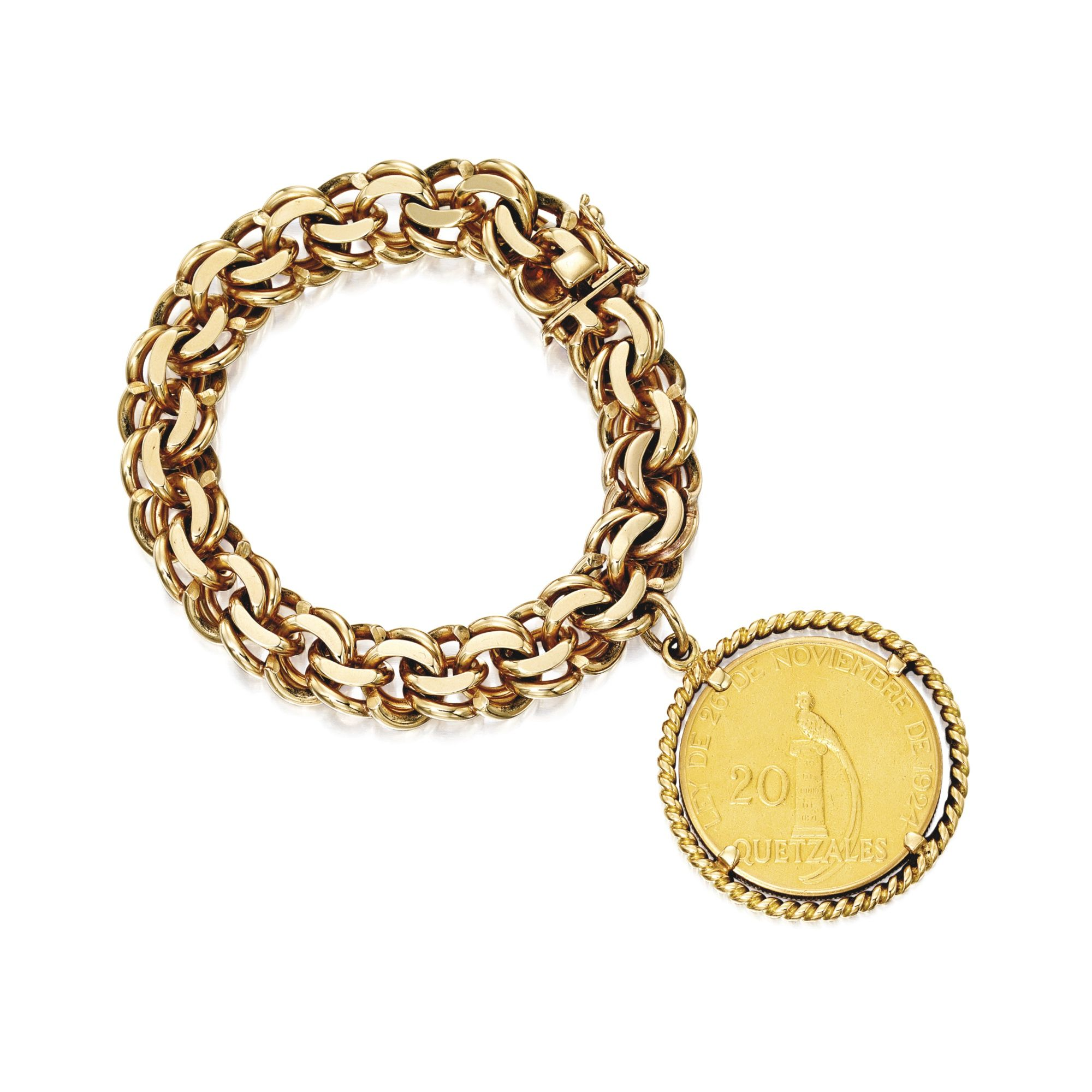Gold Coin Bracelet, Cartier The gold chain-link bracelet suspending
