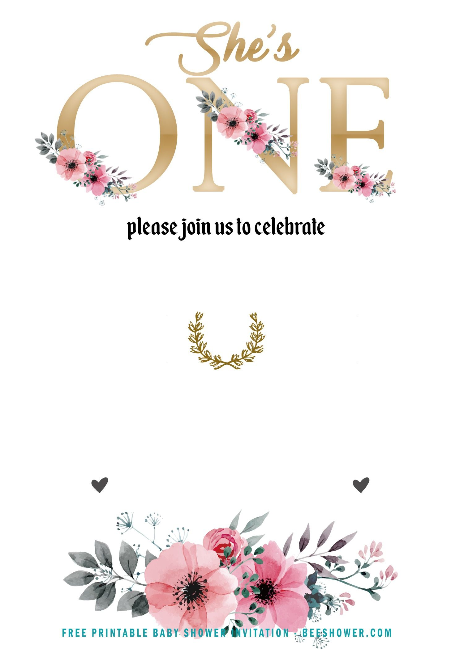 Free Girl Floral She S One Invitation Templates Free Birthday Invitation Templates Free Printable Invitations Templates Printable Birthday Invitations