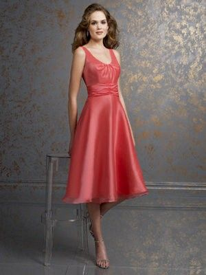 A line/Princess Scoop Tea-length Elastic Satin Bridesmaid Dress SBD1318  fuchsia & watermelon <$150