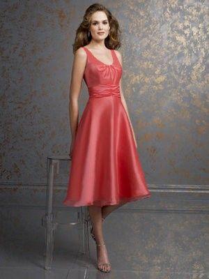 A line/Princess Scoop Tea-length Elastic Satin Bridesmaid Dress SBD1318  fuchsia & watermelon <$150