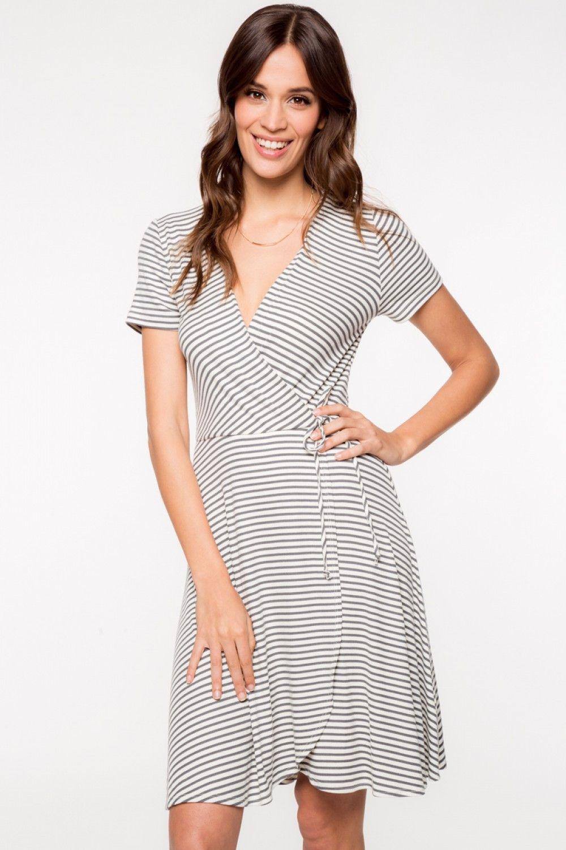 96f46e71aa7 Short Sleeve Striped Ribbed Wrap Look Dress