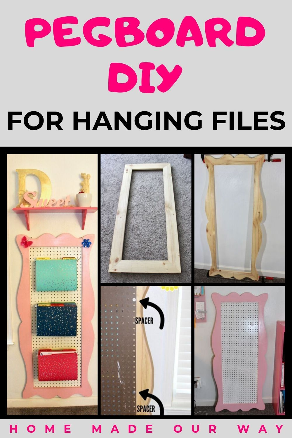 DIY Pegboard for Hanging Files Great for Saving Office