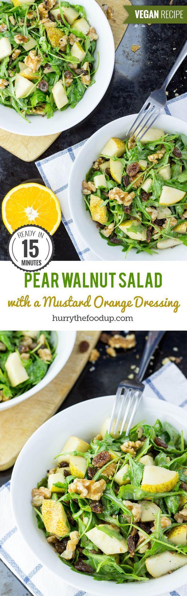 Crunchy Pear Walnut Salad with a Mustard Orange Dressing #vegan #salad   hurrythefoodup.com