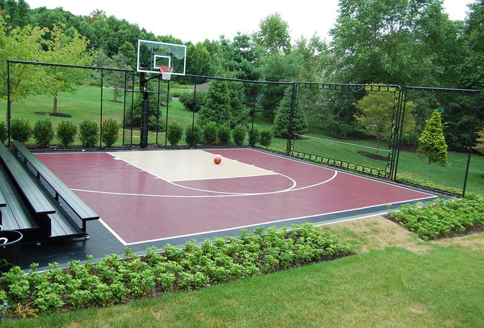 30x30 Basketball Court With Viewing Area So You Can Show Off Your Moves You Don T Get Bett Basketball Court Backyard Backyard Basketball Home Basketball Court