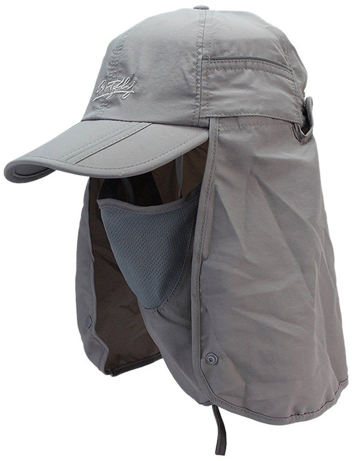 Outdoor Sun Protection Hat Folding Neck Flap Cap With Removable Shield And Mask Grey Co12grs0ihz Sun Protection Hat Mens Sun Hats Outdoor Sun Protection