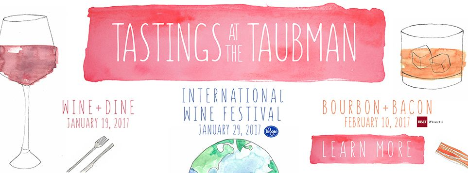 Taubman Museum of Art--aside from changing exhibitions, they do cool things like these wine tasting events!