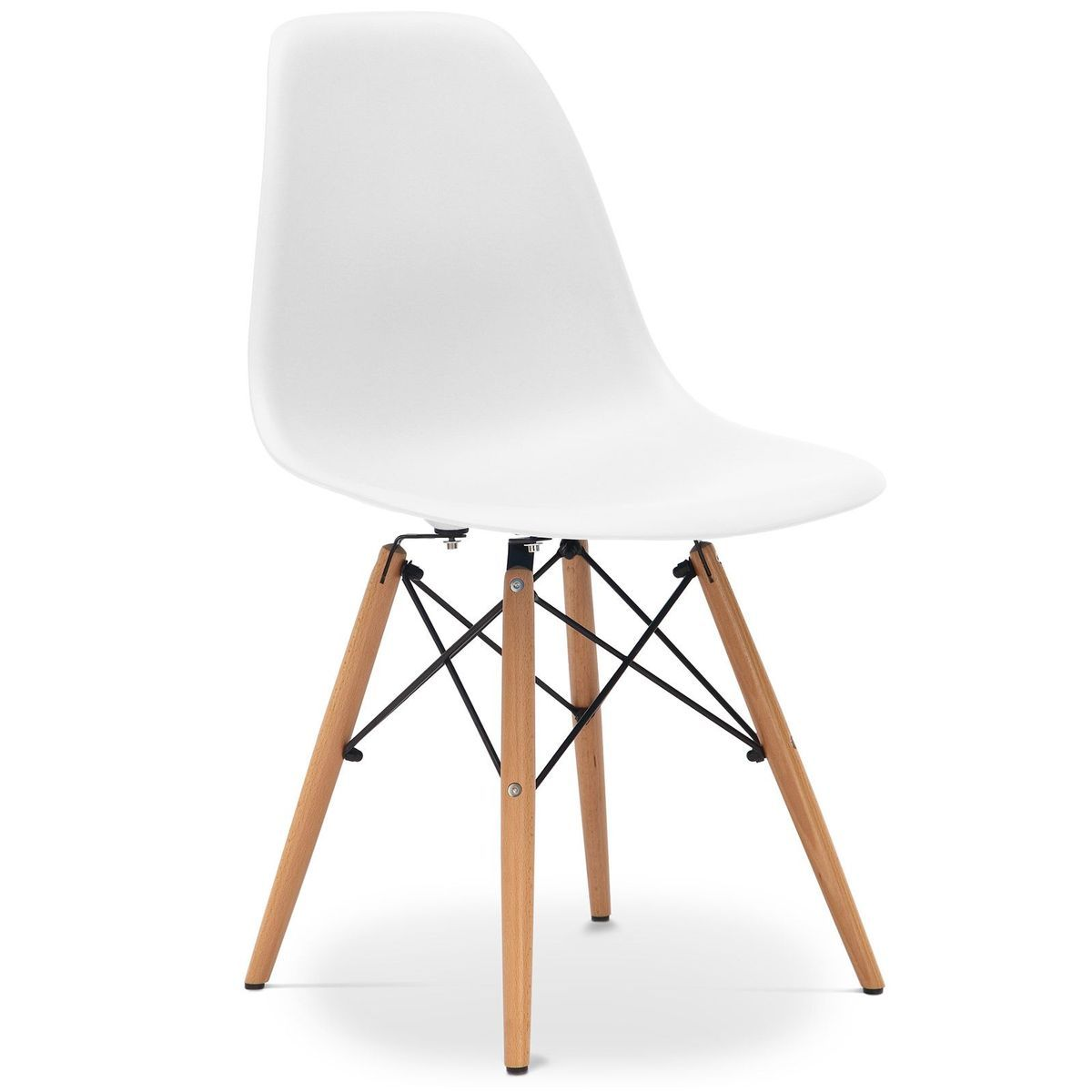 Eiffel Dining Chair With Wood Legs White In 2020 Chair Dining